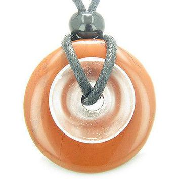 Astrological Scorpio Amulet Double Lucky Donuts Red Jasper and Rock Crystal Quar