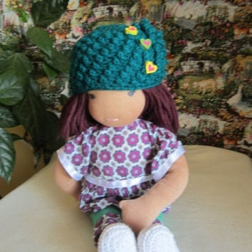 "ON SALE - 10% OFF Crochet  hat  for 16""-18"" Waldorf doll and American girl doll"