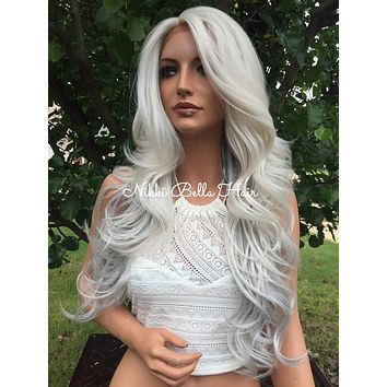 "Grey Silver 24"" Human Hair Blend Multi Parting Lace Front Wig"