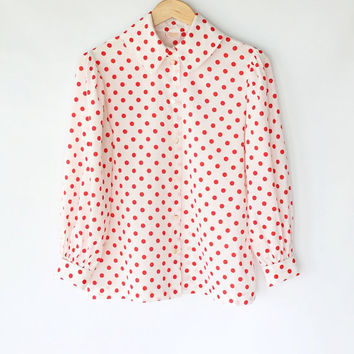 Vintage 60s White & Red Polka Dot Sweet Collar Blouse // Lightweight Spring Top