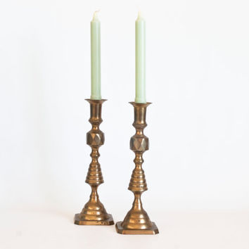 Vintage Brass Candle Holders, French Style Ribbed Candlesticks, Gold Tone Hollywood Regency, Home Decor, Tablescapes