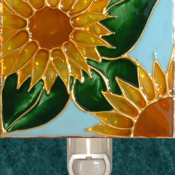Sunflower Night Light Hand Painted Kitchen Garden Decor Stained Glass Wall Art Decorative Nightlight Harvest Gold and Light Blue