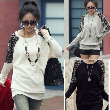 PEAPIX3 Batwing Dolman Long Sleeve Crew Neck Leopard Cotton Casual Top T-Shirt Blouses 3330