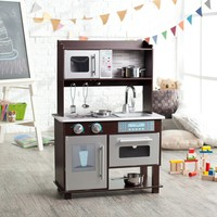 KidKraft Espresso Toddler Play Kitchen with Metal Accessory Set | www.hayneedle.com