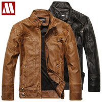 jacket fur-lined mandarin collar motorbike leather zipper jackets men's coat