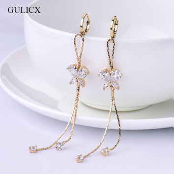 Long Tassel earrings for Women  Gold Plated Earring Crystal Cubic Zircon Dangle Earrings Wedding
