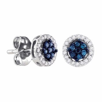 10k White Gold Women's Round Blue Diamond Cluster Stud Screwback Earrings - FREE Shipping (US/CA)