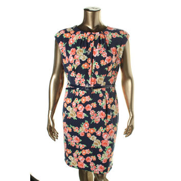 Charter Club Womens Floral Print Pleated Neck Wear to Work Dress