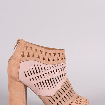 Qupid Suede Geo Cutout Patchwork Chunky Heeled Booties