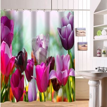 Custom rose and colorful flowers Shower Curtain Fabric Modern bathroom Waterproof Curtains for bath