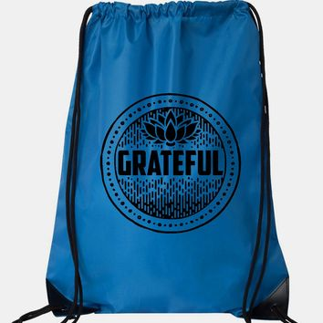 "Drawstring Gym Bag  ""Grateful""  Funny Workout Squatting Gift"