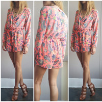 A Neon Coral and Paisley Romper