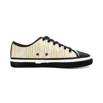 Yellow Stripes Theme Black Base Women's Nonslip Canvas Shoes