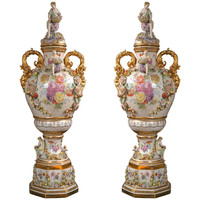 Fantastic Pair of Meissen Style Covered Urns