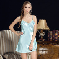 Ixuejie Women Pyjamas Lace Plus Size Sleepdress Summer Style Nightwear Silk Ladies Sleepwear
