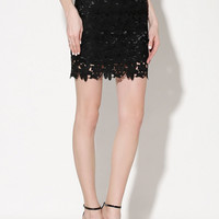 Black Crochet Lace High Waisted Pencil Skirt