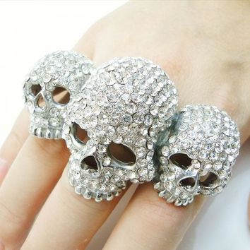 BELLA Fashion 3 Skull Bone Skeleton Adjustable Ring Austrian Crystal Ring For Women Halloween Party Jewelry Free Size