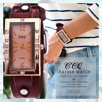 Fashion Vintage Genuine Cow Leather Rhinestone, Casual Women Quartz Watch