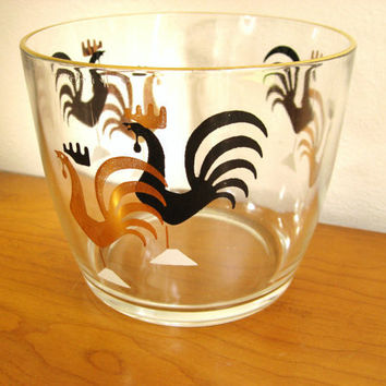 Vintage Rooster Ice Bucket Or Bowl 1950 S Mid Century Barware
