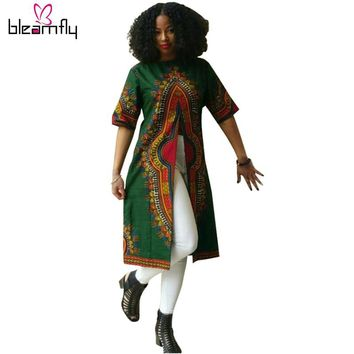 African Clothing Traditional Print Shirt Dress