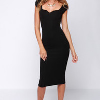 LULUS Exclusive Main Dame Black Midi Dress