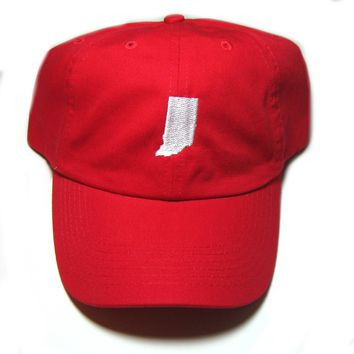 Indiana Hat - Classic Dad Hat  - White and Red - All States Available
