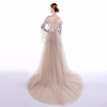 Elegant Boat Neck Tulle A Line Long Sleeves Evening Dresses Flowers Appliques Backless Floor Length Evening Dress