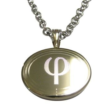 Gold Toned Etched Oval Greek Letter Phi Pendant Necklace