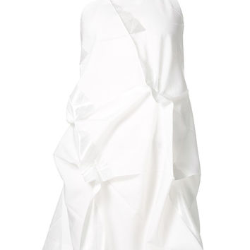 Asymmetric Origami Dress in White