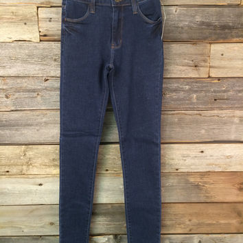 HIGH RISE SKINNY - BLUE DENIM