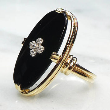 Art Deco Onyx Ring Vintage Onyx Ring with Diamonds 10k Gold Diamond Ring 1930's Onyx Ring Esemco Onyx Ring Oval Black Onyx Size 6
