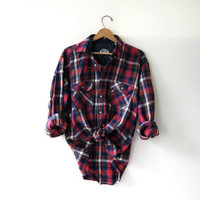Vintage Plaid Flannel / Grunge Shirt / Oversized button up shirt / Preppy flannel