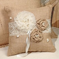 Small Rosettes & Pearls - French Burlap Accent Pillow - 8-in x 8-in