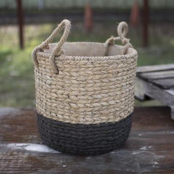 Large Braided Cement Planter w/Jute Handles ~ Natural & Black
