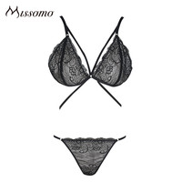 Missomo 2017 New Fashion Women Sexy Soft Panties Cross Straps Solid Black Underwear Sheer Bralette Brief Lace Bra Sets