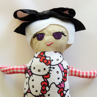 Scrawny Girl Hello Kitty Rag Doll Plush with Bow from Scrawny Girl