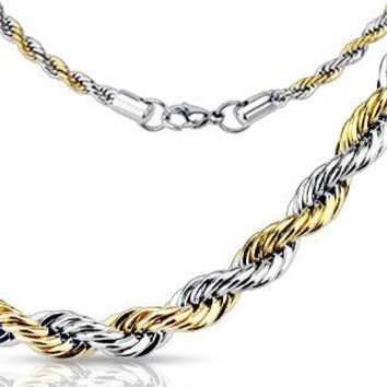 Famous - Twisted Rope Design Silver and Gold Stylish Stainless Steel Necklace