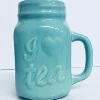 I Love Tea Mason Jar Style Mug in Vintage Green