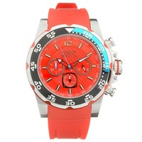 Invicta 20026 Men's Pro Diver Red Dial Red Polyurethane Strap Chronograph Watch