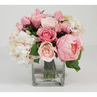Creative Displays, Inc. Spring Additions Pink & White Assorted Rose in Water Glass Vessel & Reviews | Wayfair