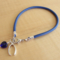 Osteogenesis Imperfecta Blue Awareness Bracelet / Anklet - Rubber with Wishbone Charm