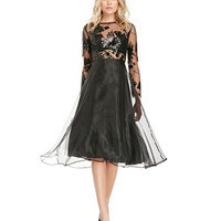 Black Semi-Sheer Dress with Tiered Skirt