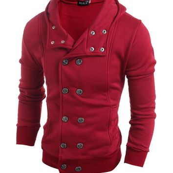 Streetstyle  Casual Men Hooded Double Breasted Plain Coat