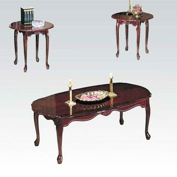 Acme 02402 3 pc essex collection cherry finish wood coffee table and end tables