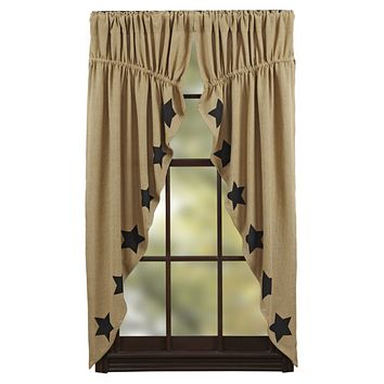 Burlap with Black Stars Prairie Curtains