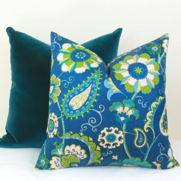 Blue green turquoise paisley floral pillow cover 18x18 20x20 22x22 24x24 26x26 Euro sham blue Lumbar pillow 12x20 12x24 14x26 16x24 16x26