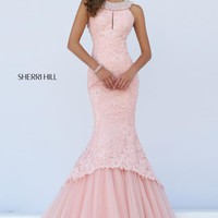 Sherri Hill Long Beaded Pageant Pink Dress 50112
