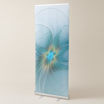 The little Beauty Modern Blue Gold Fractal Flower Retractable Banner