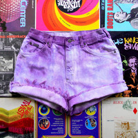High Waisted Denim Shorts, Vintage 90s Bleached/Tie Dyed/Distressed Light Wash Purple Jean Shorts, Cut Off/Frayed/Rolled Up, Size 10 12 OOAK