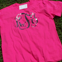Short Sleeve Glitter Monogram T-Shirt Custom Sparkle Initials Tee Shirt Monogrammed Tee Glitter Over Sized Monogram T-Shirt Monogram Gifts